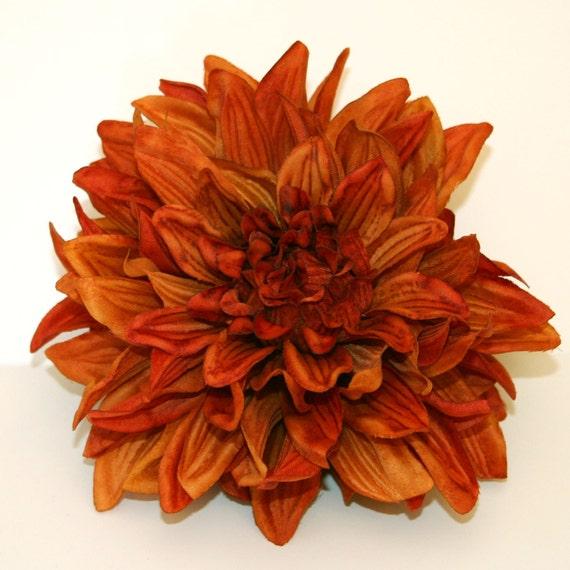 1 ENORMOUS Burnt Orange Silk Dahlia Artificial Flower