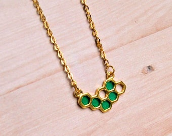 honeycomb necklace, resin honeycomb jewelry, gold necklace, gift for her, green and gold, statement jewelry