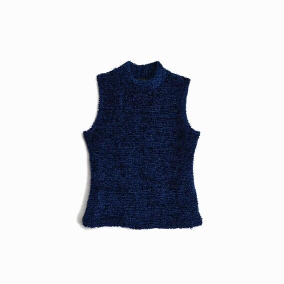 Vintage 90s Plush Sleeveless Turtleneck Top in Midnight Blue / Sleeveless Turtleneck Top / Midnight Blue - women's small