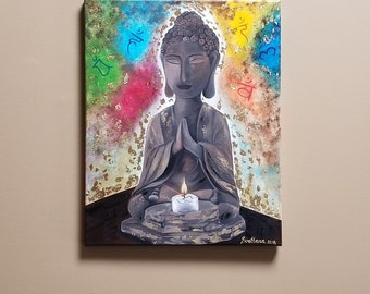 Buddha Seven Chakras Original acrylic painting 20x16 inch with golden leaf Free shipping to North America