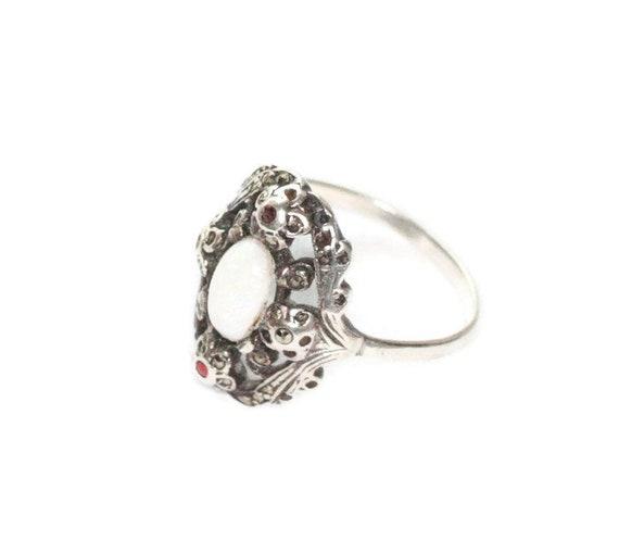 Vintage Opal Ring Garnets Marcasites Fancy Setting 935 Silver