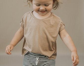 Baby Boxy Tee, Modern Baby Clothing, Taupe Tee, Unisex tee