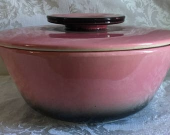 Large Vintage Pink and Black Hull Pottery Divided Serving Bowl with Lid