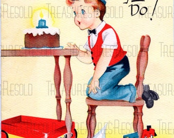 Boy Blowing Out Candles On Cake Birthday Card #463 Digital Download