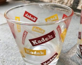Set of (4) Kodak Rocks Tumbler Glasses with print Error KADOK - Vintage