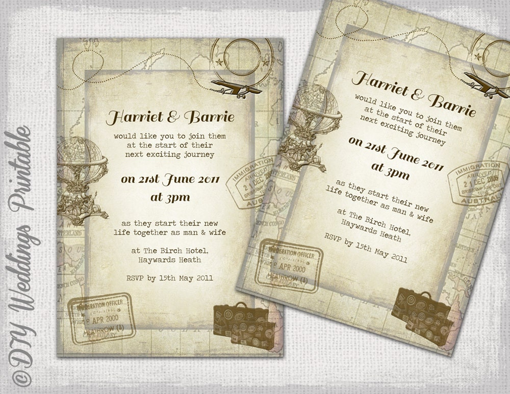 Destination Wedding invitations template Travel