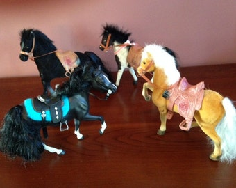 Collection of Four Vintage Breyer Horses all with Saddles