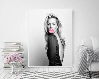 Kate Moss print, Kate moss bubble gum wall art,fashion print, make up print, bubble gum print, powder room, supreme celebrities, black&white
