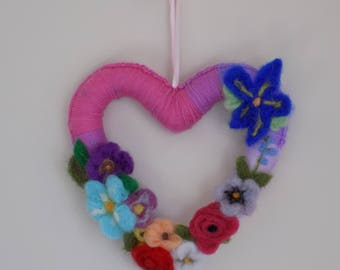 Felted Flowers Heart Wreath