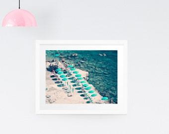 Aerial beach print, Beach photography, Large wall print, Wall decor, Wedding Gift, Aerial beach canvas, Beach canvas art, Beach umbrella