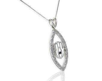 Evil Eye and Hamsa hand Pendant, 14K White Gold 25 Round Diamonds 0.80 CTW, black diamond, Hamsa pendant, evil eye necklace