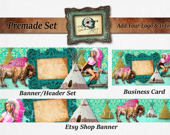Premade Business Set BOHO Western Header Banner Business Card tee pee gold Pink Buffalo Turquoise vintage Ornate Frame Cowgirl Pin Up Rodeo