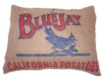 California burlap pillow