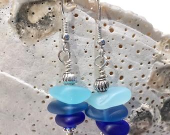 Beach Jewelry, Ocean Jewelry, Sea Glass Jewelry, Beach Glass Jewelry, Ocean Earrings, Sea Glass Earrings Beach Glass Earrings Gifts Under 15
