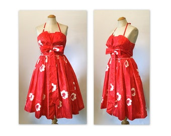 Vintage 60s Poppy Red Halter Dress XXS Fit and Flare Polished Cotton by Rhona Roy