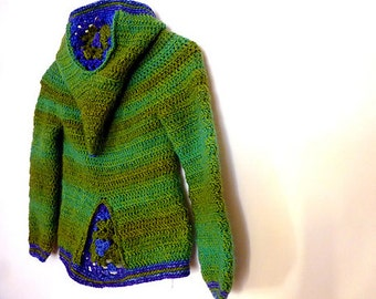 Armel, hooded cardigan for boys (or girls) - Crochet PDF pattern - 2T to 8 year old