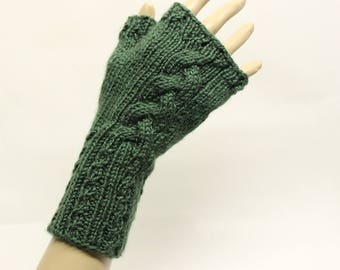 Cabled Fingerless Gloves in Forest Green  FG010