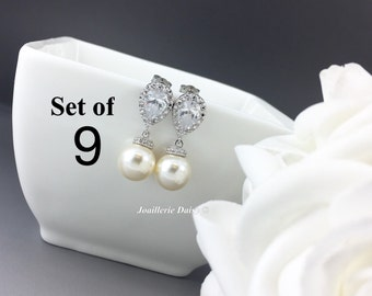 Set of 9 Bridesmaid Earrings Dangle Earrings Pearl Earrings Bridal Jewelry White Crystal Bridesmaid Gift Gift for Her Jewelry Gift idea