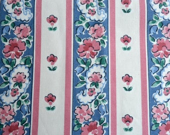 "Vintage Fabric - Pink and Blue Floral Tole Stripe Upholstery - Waverly Schumacher Floretta Al Fresco - 28"" x  49"""