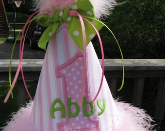 any number and name  pink  birthday hat,1st birthday hat, smash cake hat, party hat,birthday party hat