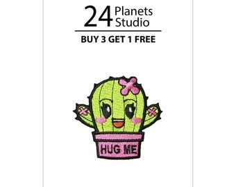 Mini Cactus Hug Me - Pink Iron on Patch by 24PlanetsStudio