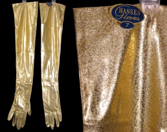 1950's SHiNY GoLD ELBoW GLOVES Metallic w/Tags HANSEN Size 7 50's Buttoned NWT