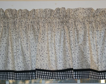 """Black Small Flowers Toile Valance 17"""" x 81""""  Can Alter Curtain Window Treatment"""