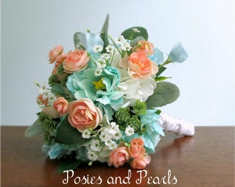 """Peach Pink, Turquoise, White, and Green Silk Flower Bouquet, Peony, Ranunculus, Succulents, Hydrangea, Baby's Breath, Sweet Pea, """"Flourish"""""""