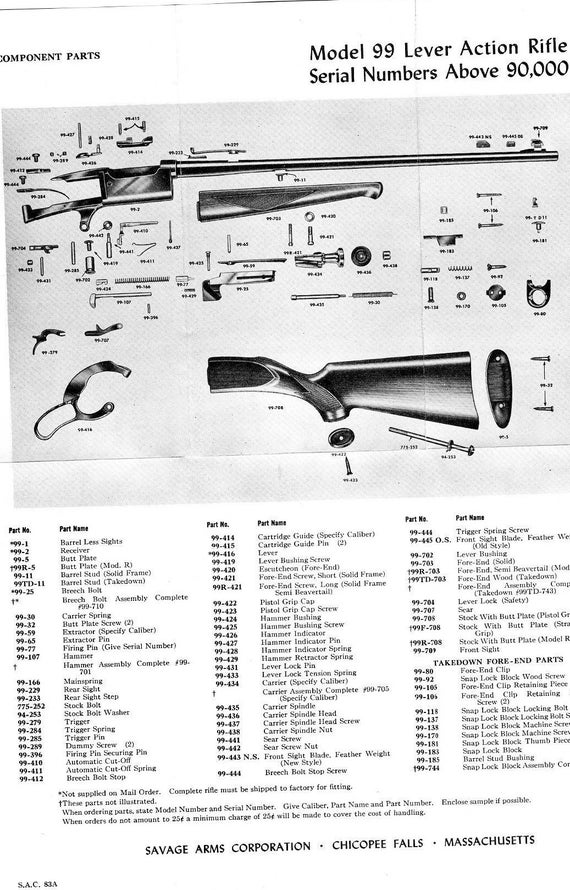 SAVAGE MODEL 99 Lever Action Rifle Parts List and Schematic