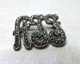 ATF Vintage K-D Sterling Marcasite Initial Pin Brooch, Vintage Initial Pin, Marcasite Pin, Silver Marcasite Letter Pin