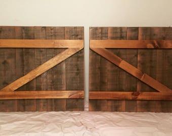 Two Rustic Wood Barn Door Shutters for Windows