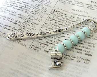 Kitchen Mixer Bookmark with Mint Blue Glass Beads Flower Short Shepherd Hook Bookmark Silver Color