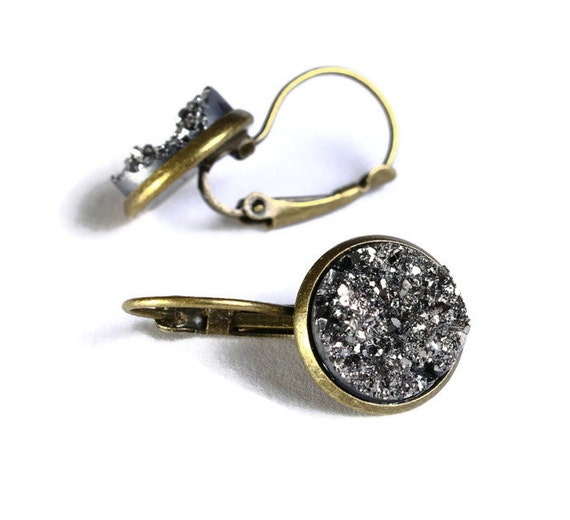 Antique brass silver and black dangle drop earrings - Faux Druzy earrings - Textured earrings - Nickel free Lead free (730)