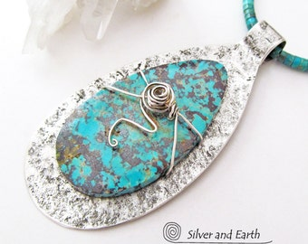 Large Turquoise Necklace, Turquoise & Silver Necklace, Sterling Silver Necklace, Metalsmith Jewelry, Big Stone Pendant, Statement Necklace