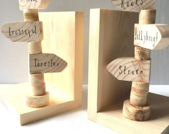 Handmade Signpost Bookends - Personalised - Wood Anniversary Gift - Gift for him - Gift for travellers - Bookends - Wood Signpost