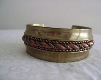 Vintage Brass Bangle Rope Chunky Bracelet