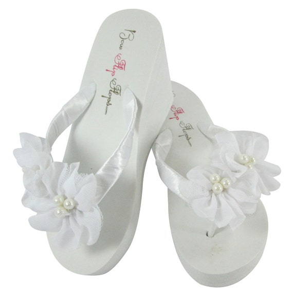 ladies Turquoise Pearl sizes with girls Flowers All Chiffon Bridesmaid White Flip Flops qBWTcv