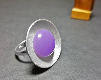 Amethyst Ring, February Birthstone Ring, Amethyst Ring Sterling Silver, Purple Gemstone Ring, Round Stone Ring, Purple Stone Ring