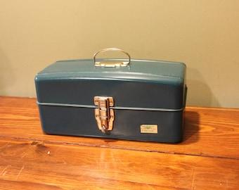 Vintage Blue  Union Metal Art/Tool/Tackle Box