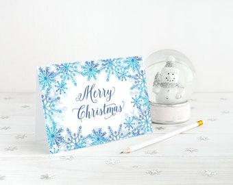 Merry Christmas Card, Snowflake Christmas Card Greeting Card, Holiday Card Watercolor Christmas Card, Blue Snowflakes, Happy Holidays Card