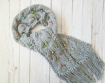 KNITTING PATTERN - Rainbow Beaded Cable Scarf