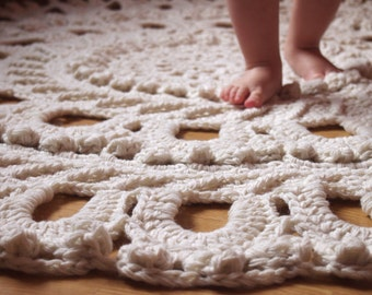 """56"""" Crochet Large Rug, Rug Round Crochet, Made To Order"""