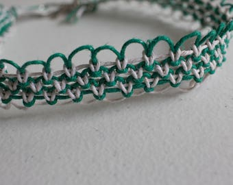 15 inch green and white hemp necklace