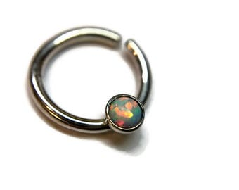 Opal Septum Ring ~ Sterling Silver Nose Hoop ~ 3mm Rainbow Opal ~ Nose Ring Jewelry ~ Piercing ~ Daith  ~ Helix ~ Tragus ~ Conch
