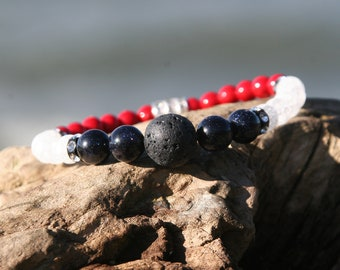 Independence Day | Stretch Bracelet | Lava Stone Essential Oil Diffuser Jewelry | Natural Gemstones | Fourth of July | Beachy Bracelet