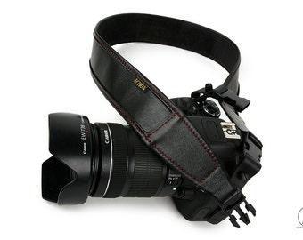 Red Stitching on Soft Black Leather Custom Camera Strap - Blackheart Red Stitching Regular