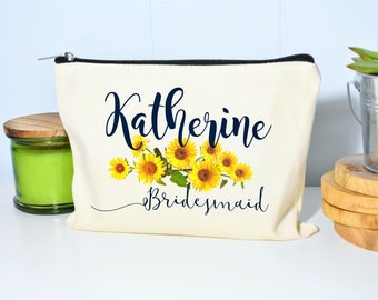 Bridesmaid Makeup Bag, Sunflower Wedding, Sunflower Decor, Gift for Bridesmaids, Makeup Bag, Floral Makeup Bag, Bridesmaid Proposal, Makeup
