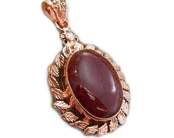 Maroon Agate and Copper Pendant