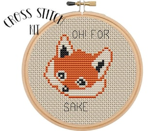 Oh! For Fox Sake Cross Stitch  Kit. Beginner Cross Stitch. Funny Cross Stitch. Retro Embroidery. Embroidery Kit.  Animal Cross Stitch Kit.
