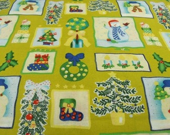 cotton fabric - Christmas - green & yellow